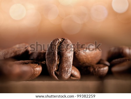 coffee beans on blurred background - stock photo