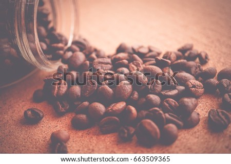 coffee beans on brown paper background