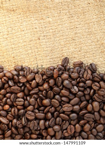 coffee beans on canvas background