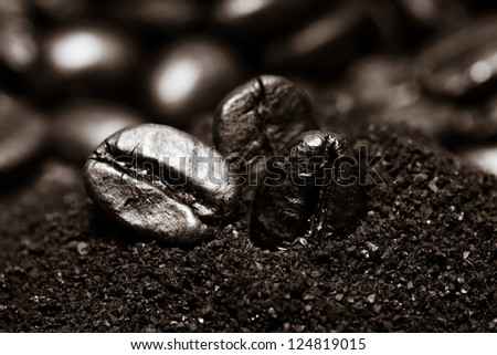 Coffee beans on grunge wooden background - stock photo