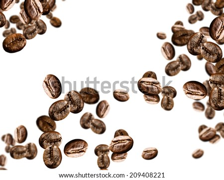 coffee beans on isolated background - stock photo