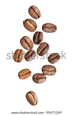 Coffee beans on isolated white background - stock photo