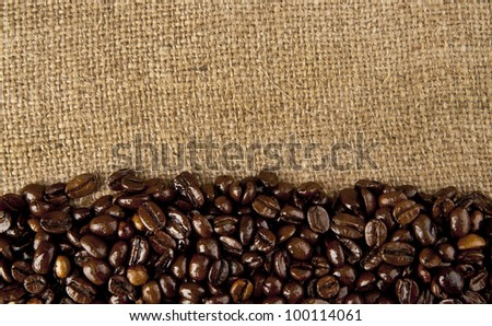 coffee beans on the background of tissue