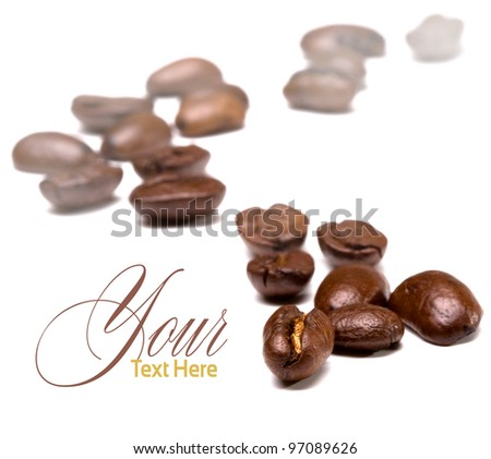 coffee beans on the white backgrounds