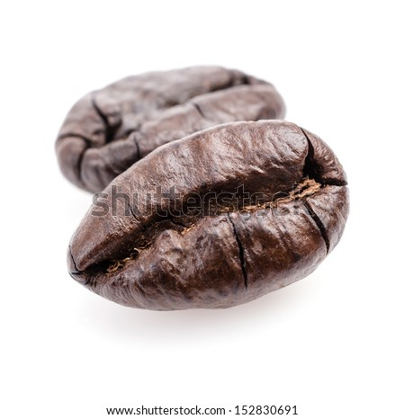 Coffee beans on white background - stock photo