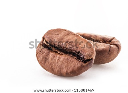 Coffee beans on white background, closeup - stock photo