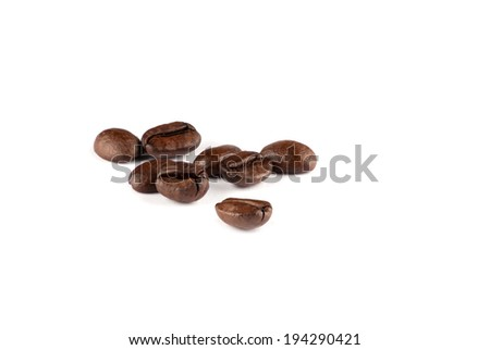 Coffee beans on white white background - stock photo
