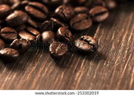 Coffee Beans On Wooden Background./Coffee Beans On Wooden Background - stock photo