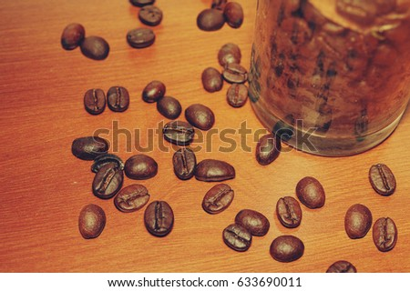 Coffee beans on wooden boards
