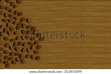 Coffee beans on wooden floor,3d - stock photo