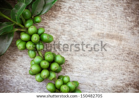 Coffee beans over wood background, Macro close-up for design work