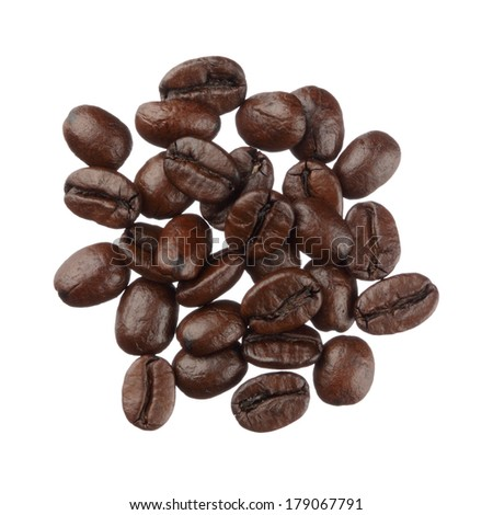 Coffee beans pile isolated on white background close up - stock photo