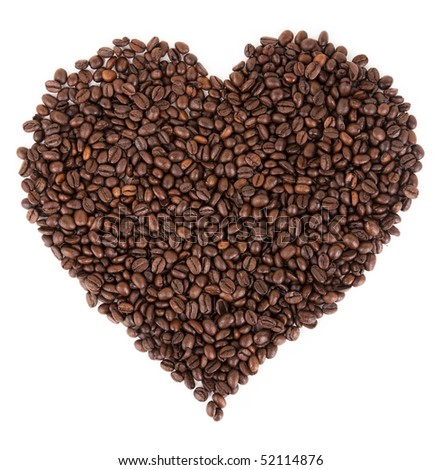 coffee beans spread out in the form of a  heart