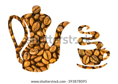 Coffee beans stacked in the form of a coffee pot and cups on a white background