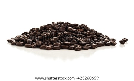 Coffee beans studio isolated on white background