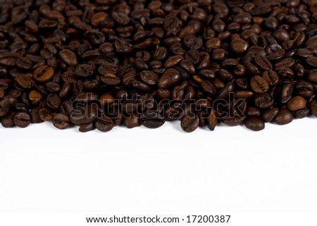Coffee beans texture on white - stock photo