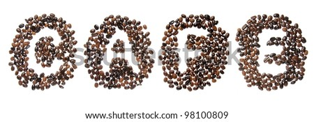 Coffee beans used to spell the word cafe. Isolated on a white background - stock photo