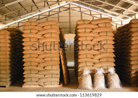 Coffee beans warehouse - stock photo
