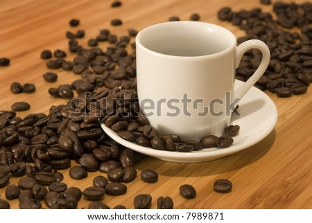 Coffee Beans with Demitasse Espresso Cup