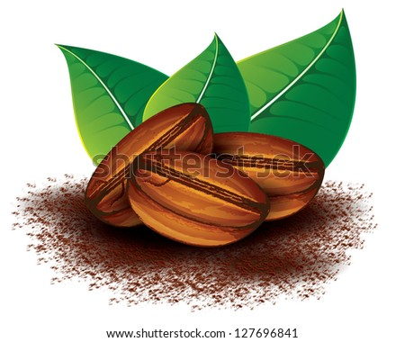 coffee beans with green leaves - stock photo