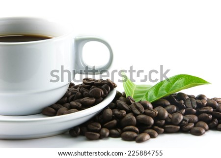 Coffee beans with leaves on white background. - stock photo