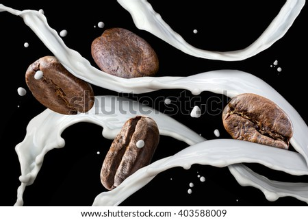 Coffee beans with milk splash isolated on black background