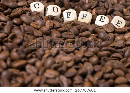 coffee beans with the word Coffee / Coffee Beans - stock photo