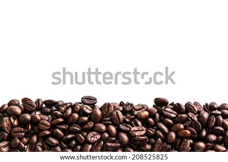 Coffee beans with white background  - stock photo