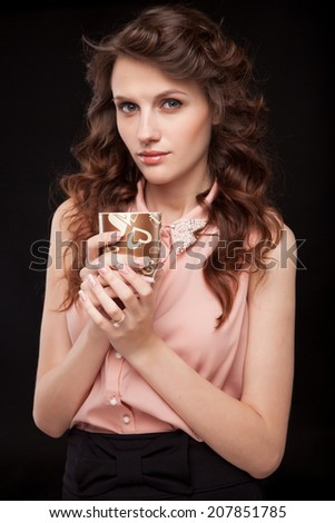 Coffee. Beautiful Girl Drinking Tea or Coffee. Beauty Woman enjoying Coffee. Cup of Hot Beverage.
