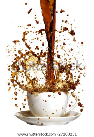 coffee being poured in to a cup and saucer from a height making a mess - stock photo