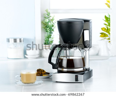 Coffee blender  and boiler machine great for makes hot drinks - stock photo