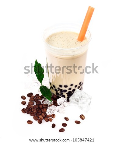 Coffee Boba Bubble Tea with fruits and crushed ice. - stock photo