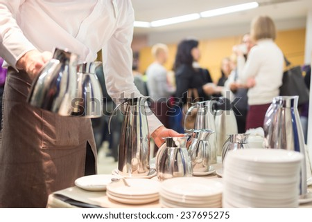 Coffee break at conference meeting.  Business and entrepreneurship. - stock photo