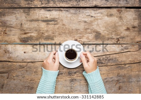 Coffee break background. Stop working drink espresso - stock photo