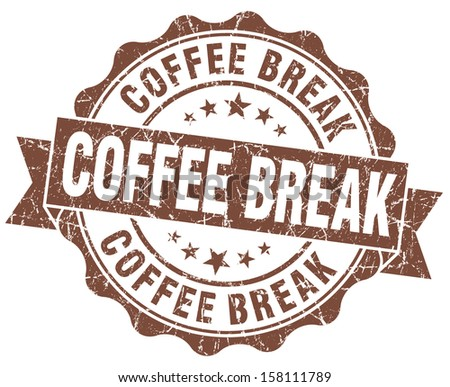 coffee break brown grunge stamp - stock photo