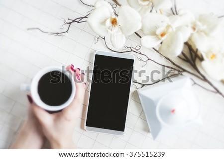 Coffee break in a romantic atmosphere  - stock photo