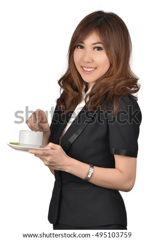 Coffee break in business woman hand with smile face