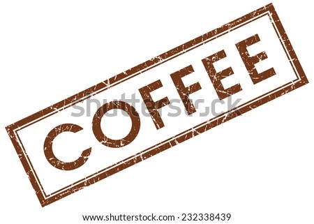 coffee brown square stamp isolated on white background - stock photo