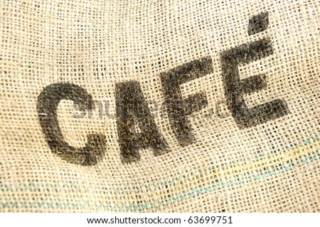 Coffee, cafe bag, fabric grunge background - stock photo