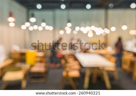 Coffee cafe blur background with bokeh - stock photo