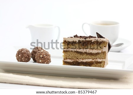 Coffee cake in white background