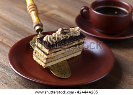 Coffee cake on a old wooden table - stock photo