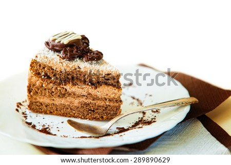 Coffee cake on white plate