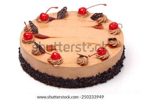 Coffee cake with cherry on white background - stock photo