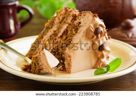 Coffee cake with chocolate. - stock photo