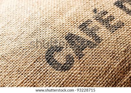 coffee canvas Bag exportation - stock photo