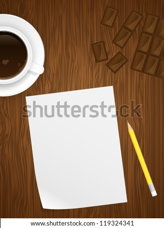 Coffee cap, white paper, chocolate and yellow pencil on wooden background. Illustration.