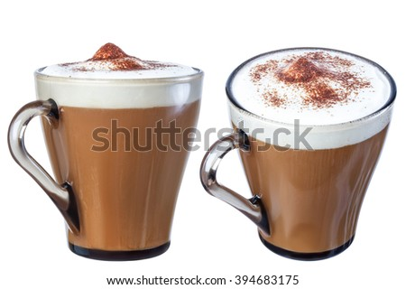 Coffee cappuccino chocolate chip , isolate on a white background, from different angles. - stock photo
