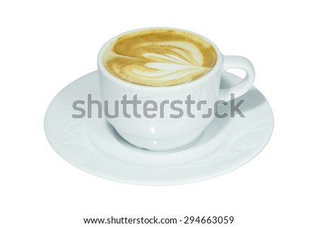 Coffee Cappuccino or Latte over white - stock photo