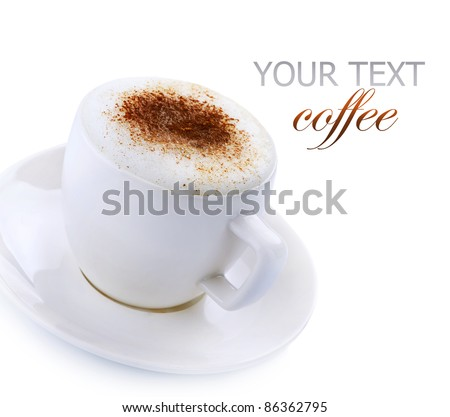 Coffee Cappuccino or Latte over white - stock photo